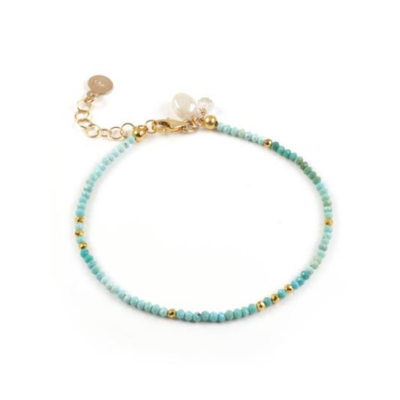 Mickey Lynn Micro-faceted Turquoise Bracelet w Gold Pyrite