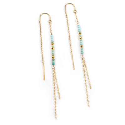 Mickey Lynn Turquoise and Gold Pyrite Threader Earrings