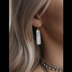 Mickey Lynn Bezeled Moonstone Bar Earrings