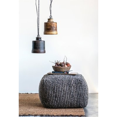 Slate Grey Wool Pouf