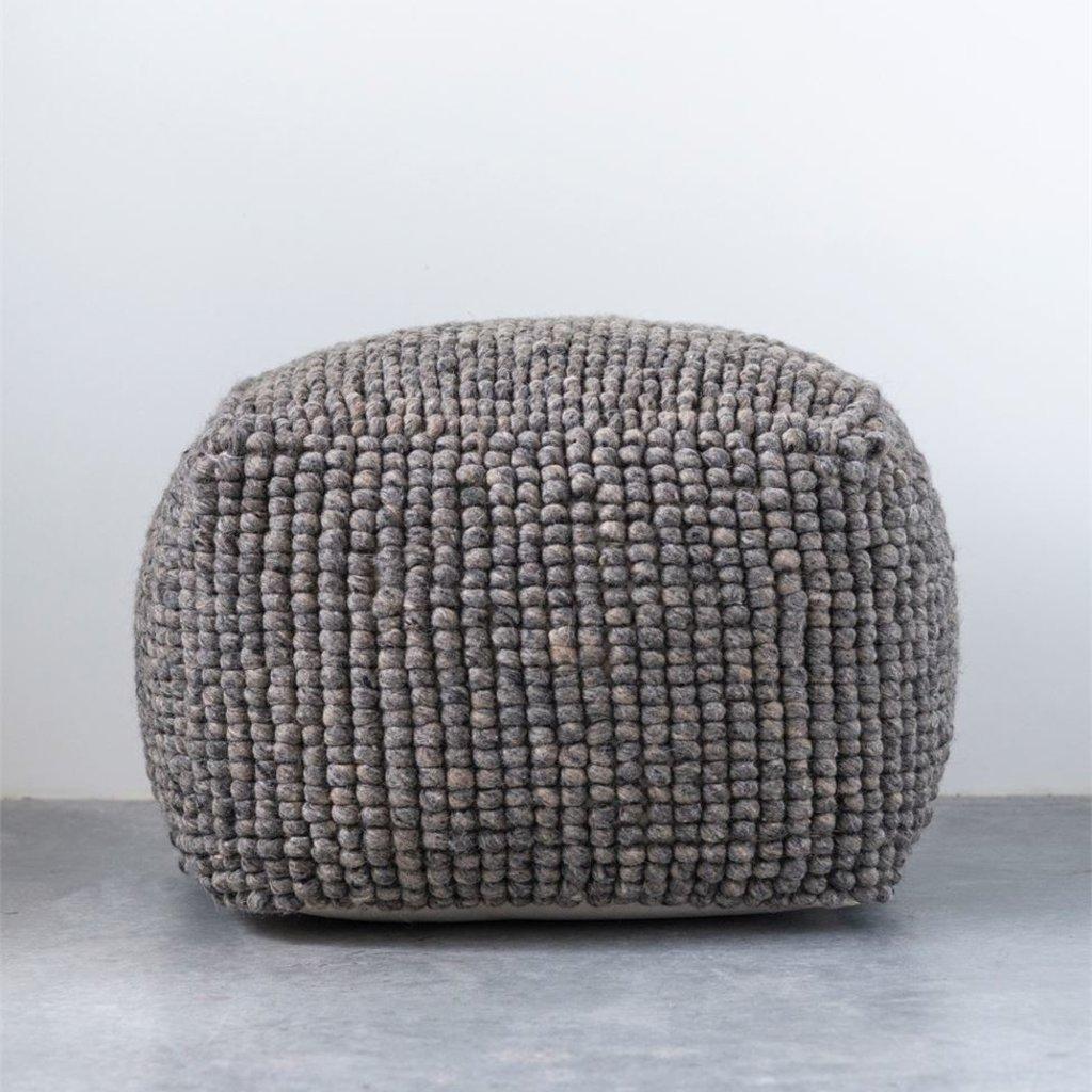 Grey Wool Pouf