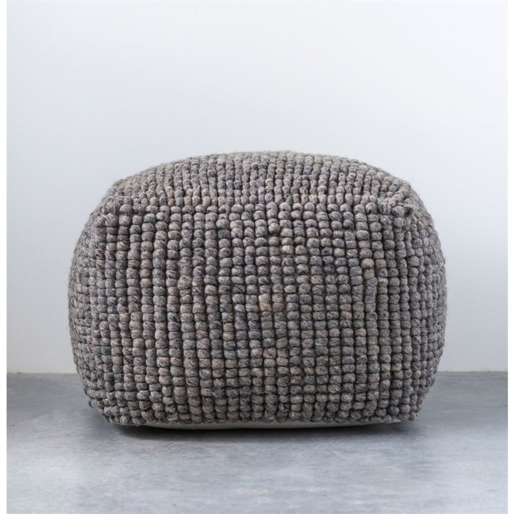 Slate Grey Wool Pouf