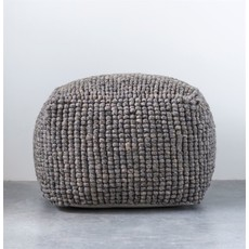Grey Wool Pouf