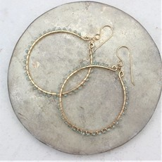 Slate Hammered Hoop Earrings