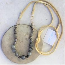 Slate Labradorite and Leather Adjustable Necklace
