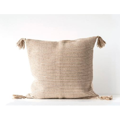 """Slate 24"""" Square Cotton Stripe Pillow w/Tassels (with Insert)"""