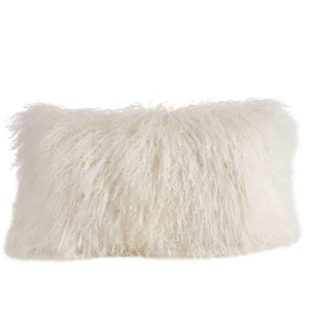Slate Mongolian Lamb Fur Small Lumbar PIllow