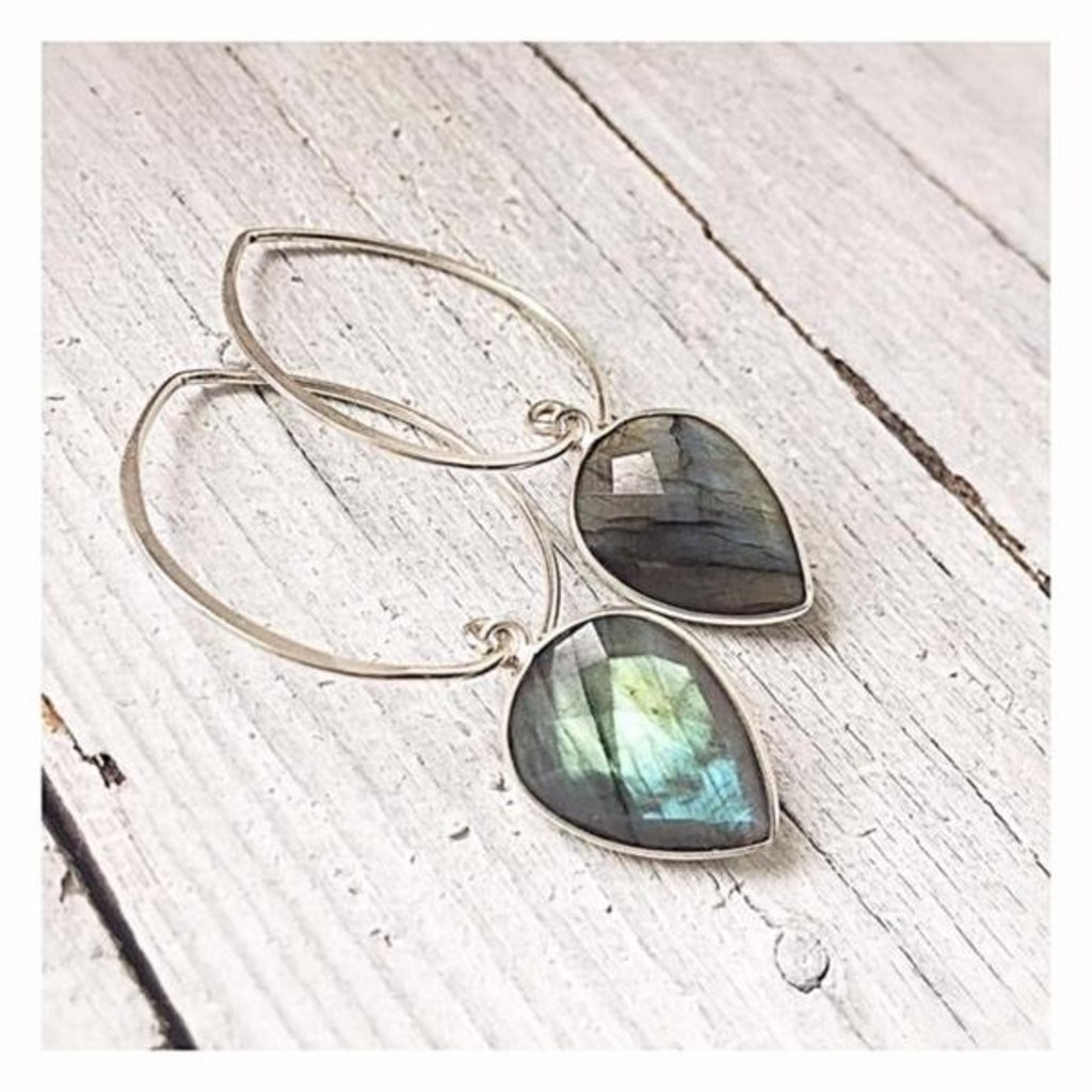 eenadee Labradorite Teardrop Earrings