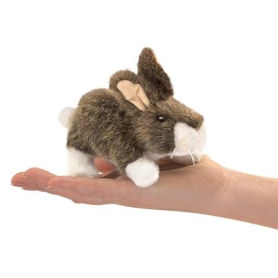 Slate Mini Cottontail Rabbit Finger Puppet