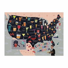 Slate Cocktail Map of USA 1000 Piece Puzzle