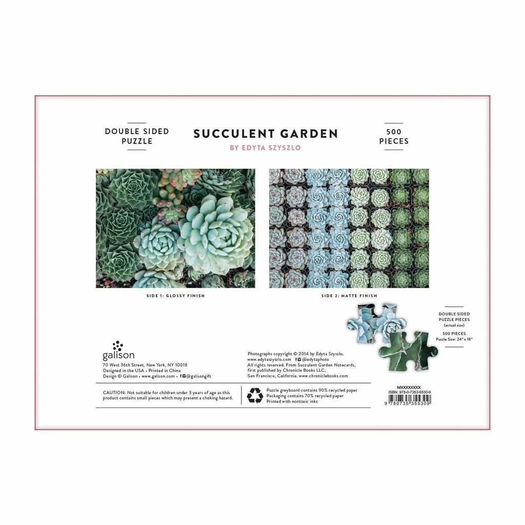 Succulents 500 piece double-sided puzzle