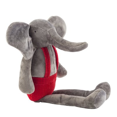 Slate Plush Elephant with Overalls