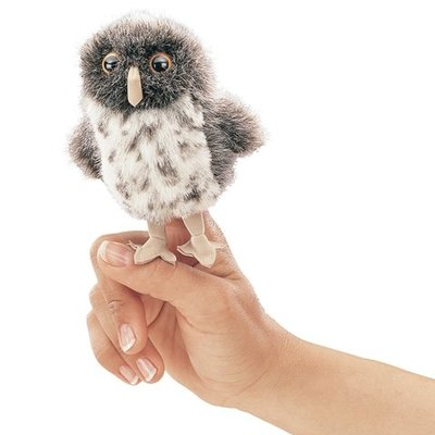 Slate Mini Spotted Owl Finger Puppet
