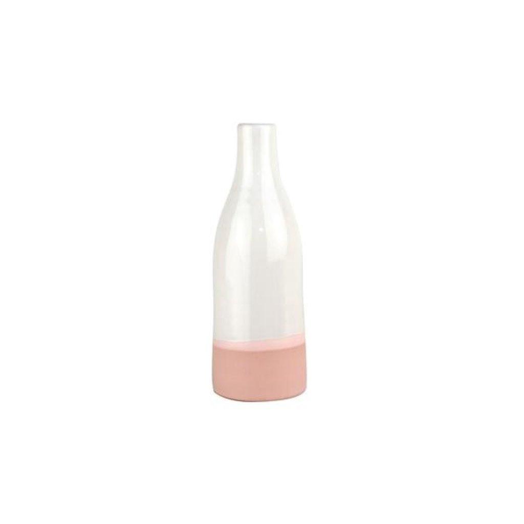 Slate Small White/Pink Bottle Vase