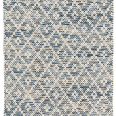 Dash & Albert Melange Diamond Blue Woven Cotton Rug