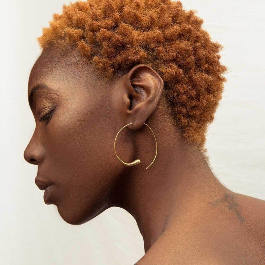 Slate Dash Hoop Threader Earrings