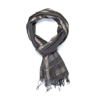 Slate Handwoven Charcoal Cotton Scarf