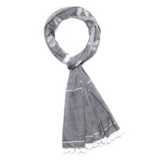 Slate Handwoven Cotton Spark Grey Scarf