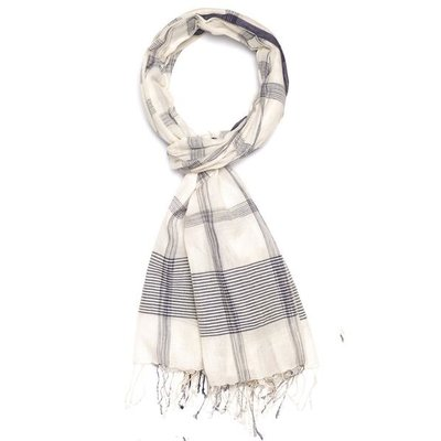 Slate Handwoven Cotton Cream/Navy Scarf