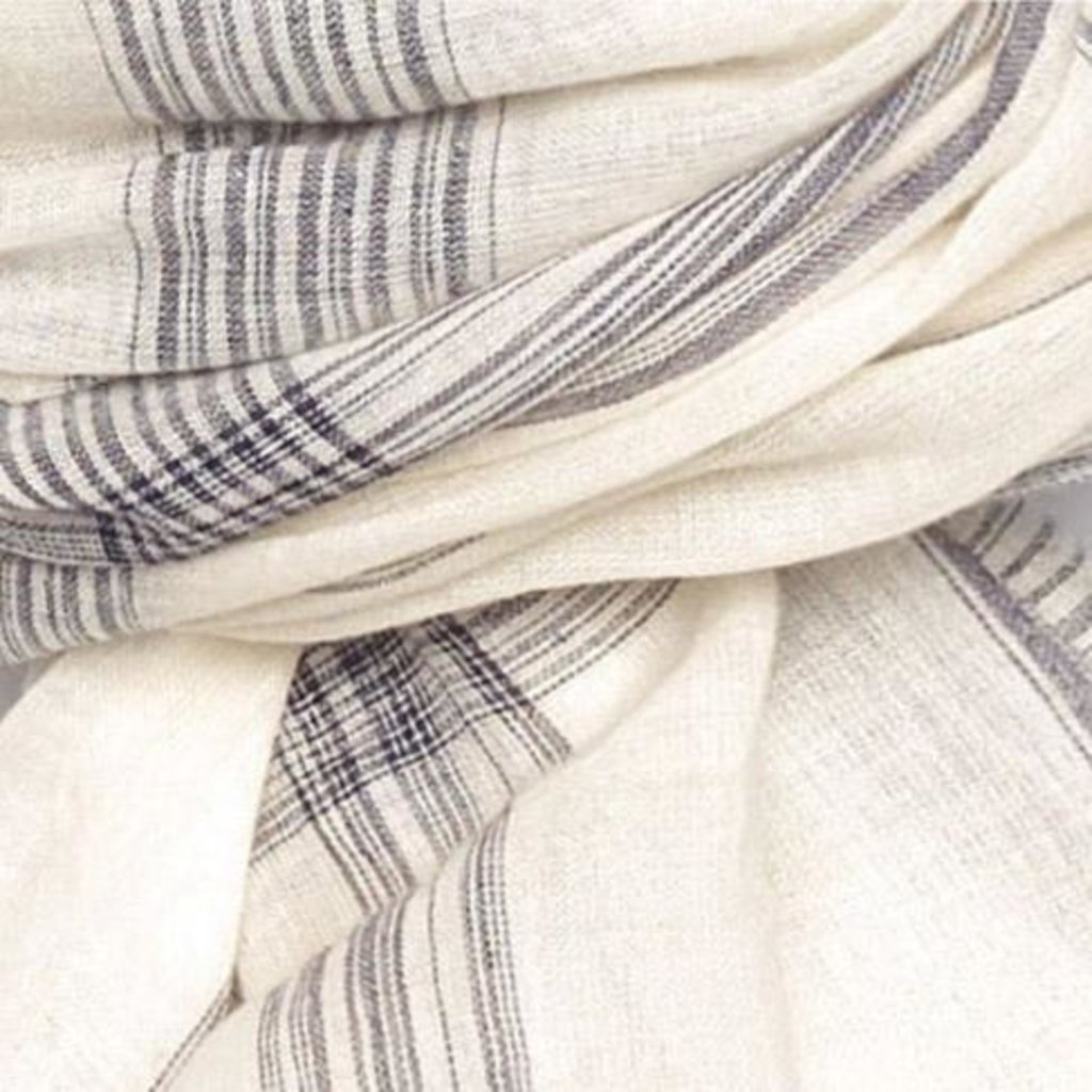 Handwoven Cotton Cream/Navy Scarf