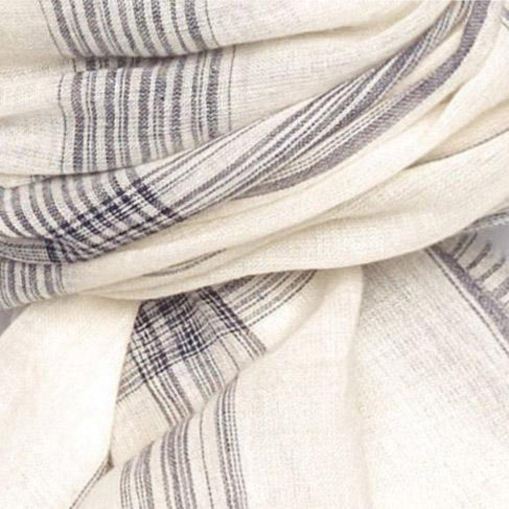 Slate Handwoven Cotton Cream/Navy Scarf