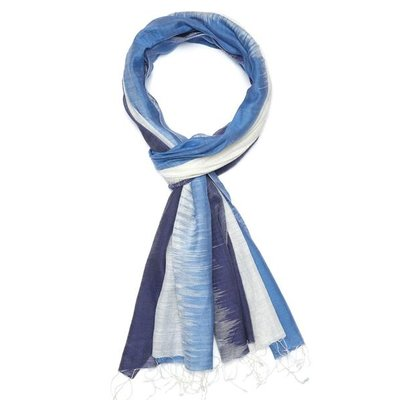 Slate Handwoven Cotton Scarf - Quake Blue