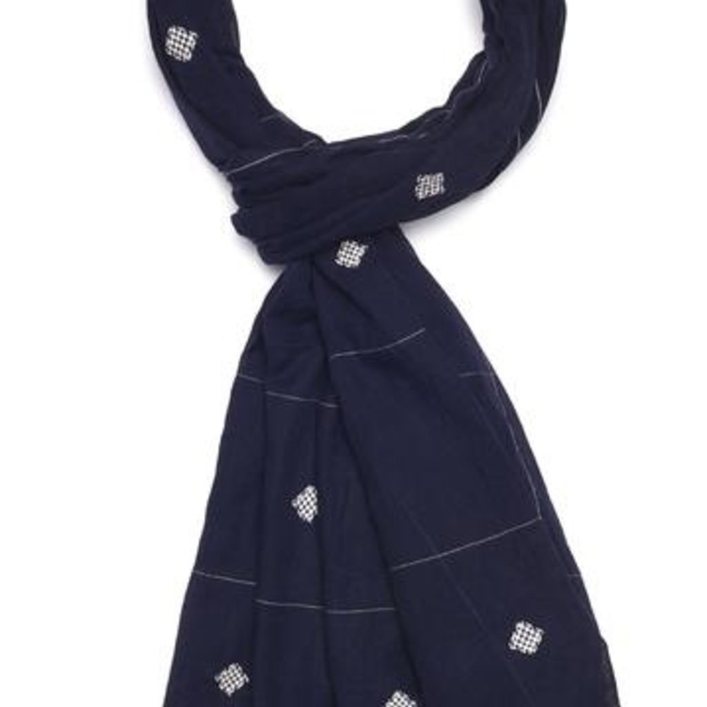 Handwoven Cotton Scarf - Navy Knots