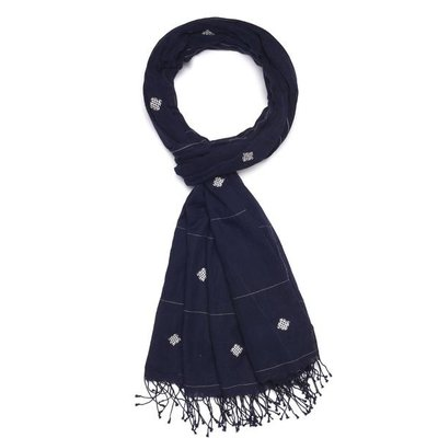Slate Handwoven Cotton Scarf - Navy Knots