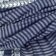 Slate Handwoven Cotton Striped Scarf - Navy
