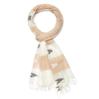 Slate Handwoven Cotton Patterned Beige Scarf