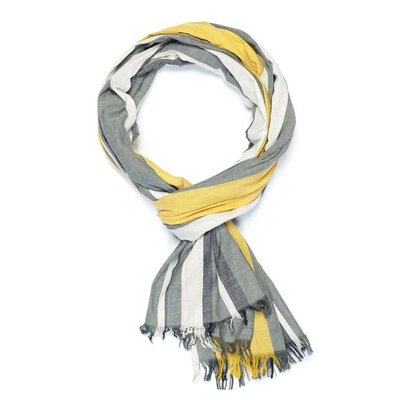 Slate Handwoven Cotton Scarf - Grey/Marigold
