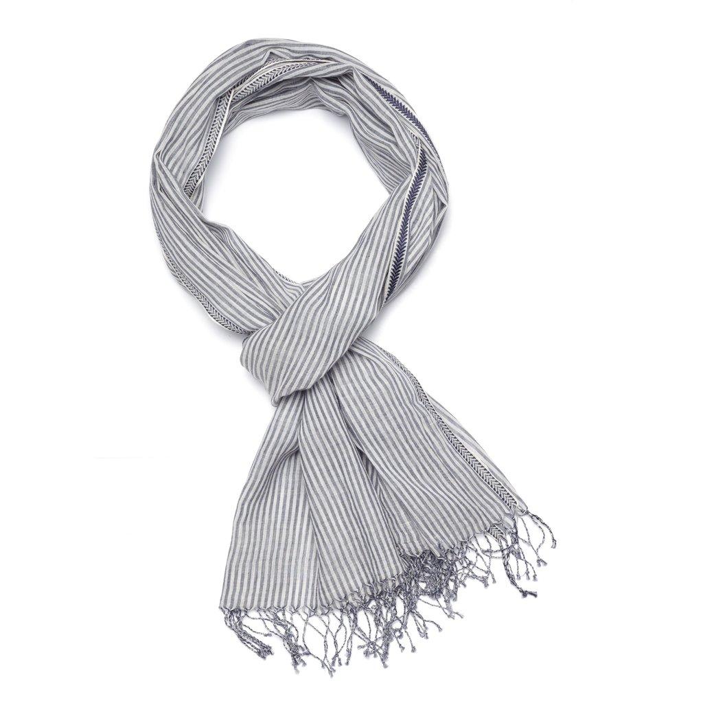 Slate Handwoven Cotton Striped Scarf