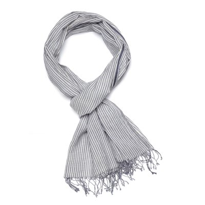 Slate Handwoven Cotton Striped Scarf