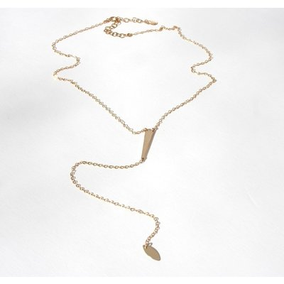 Gosia Meyer Skinny Hammered Triangle Lariat Necklace