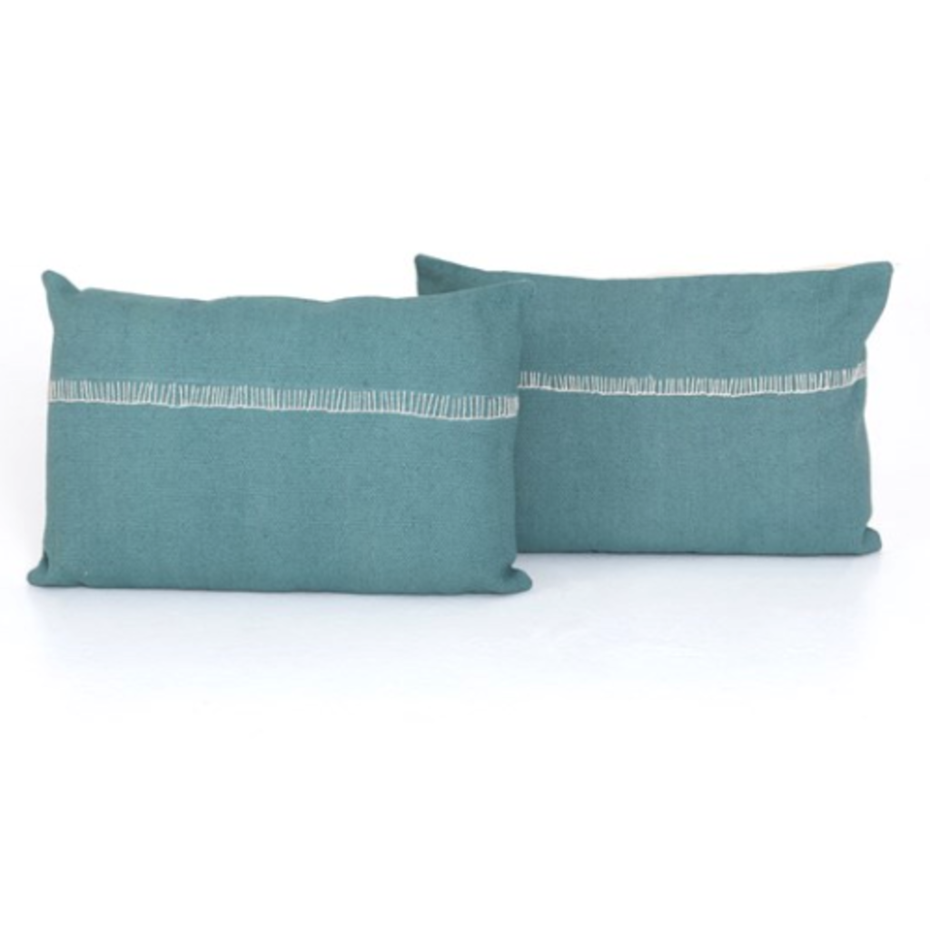 Slate Marine & Cream Cotton Pillow - 16x24""
