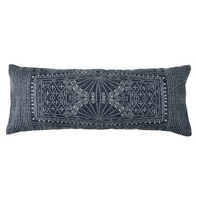 Slate Indigo Batik Lumbar Pillow 14x36