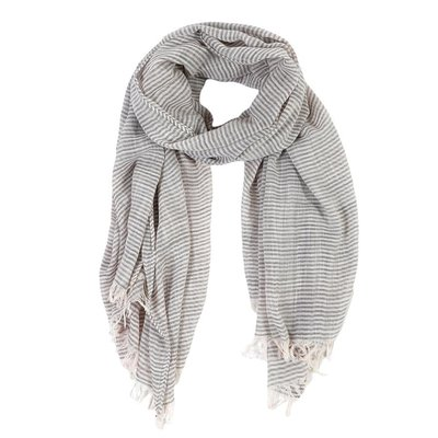 Slate Lightweight Striped Scarf