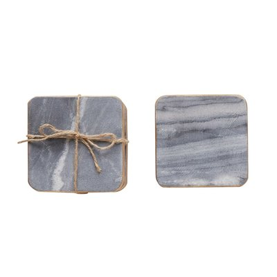 Slate Marble Coaster Set with Gold Edge