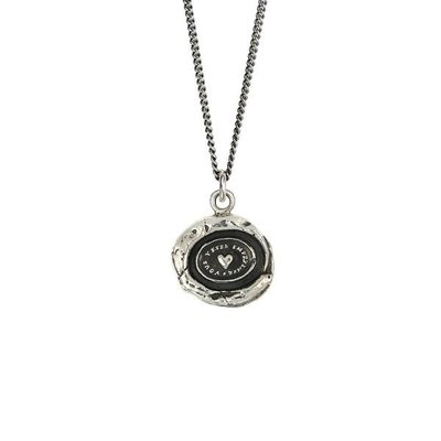 Pyrrha Heart Print Sterling Silver Talisman Necklace