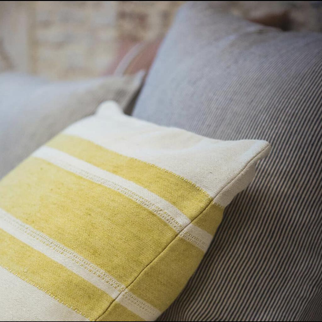 "Libeco Mustard Stripe 20"" Pillow"