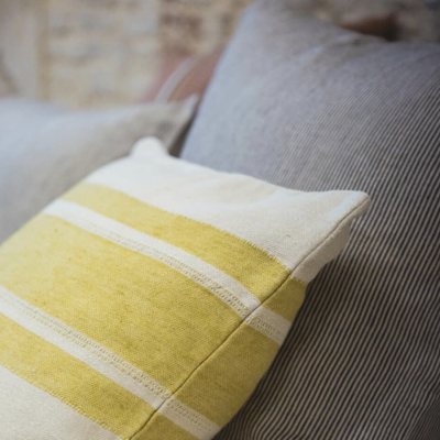 "Libeco Mustard Stripe 20"" Pillow"