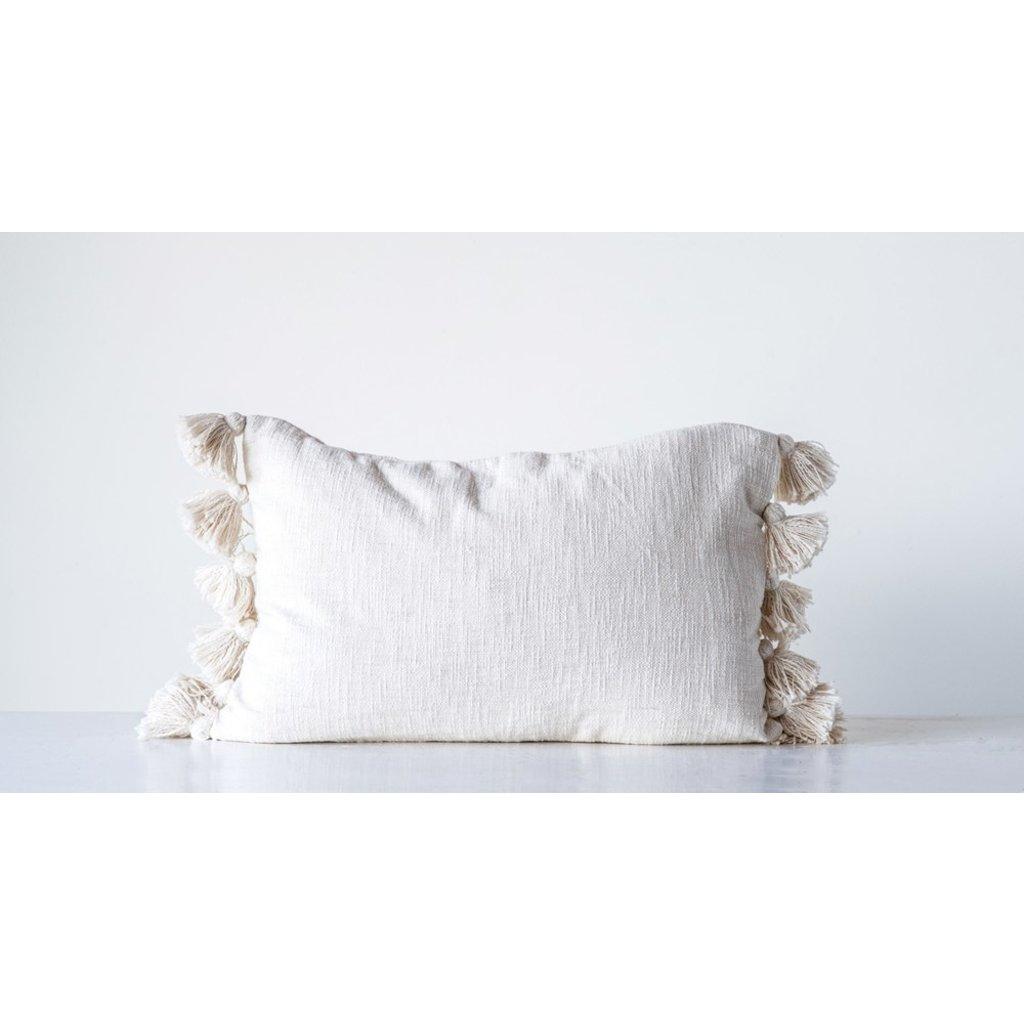 Slate Cream Tassel Lumbar Pillow