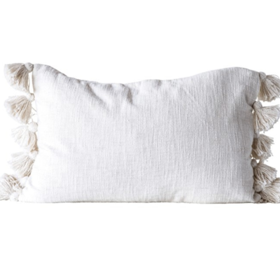 Cream Tassel Lumbar Pillow