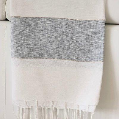 Slate Striped Cotton/Bamboo Throw