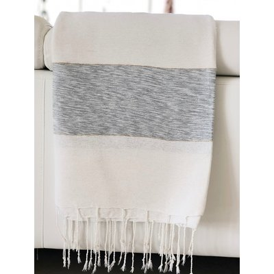 Slate Striped Cotton/Bamboo Throw