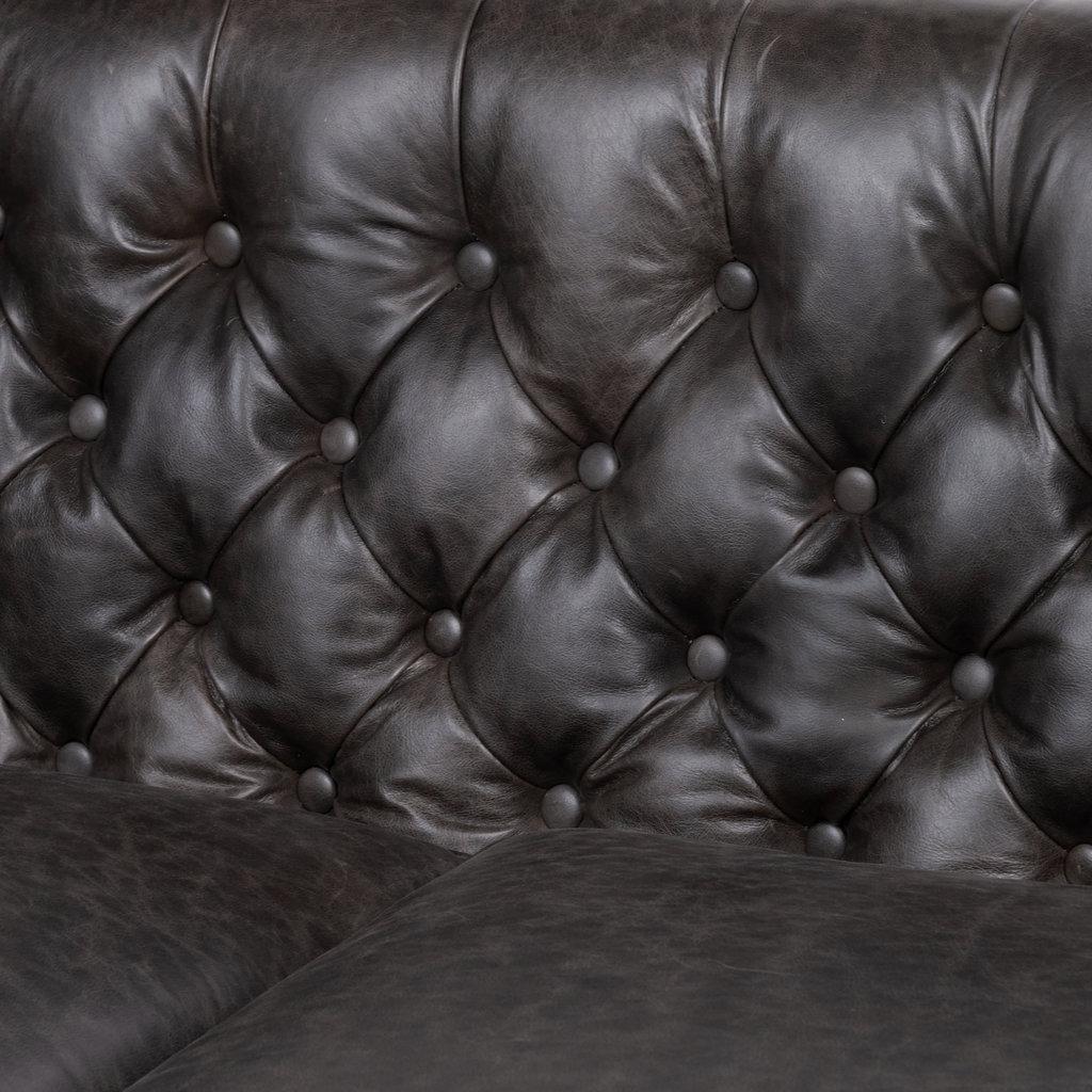 """Tufted 86"""" Leather Sofa"""