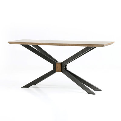 Brass Clad and Angled Iron Console