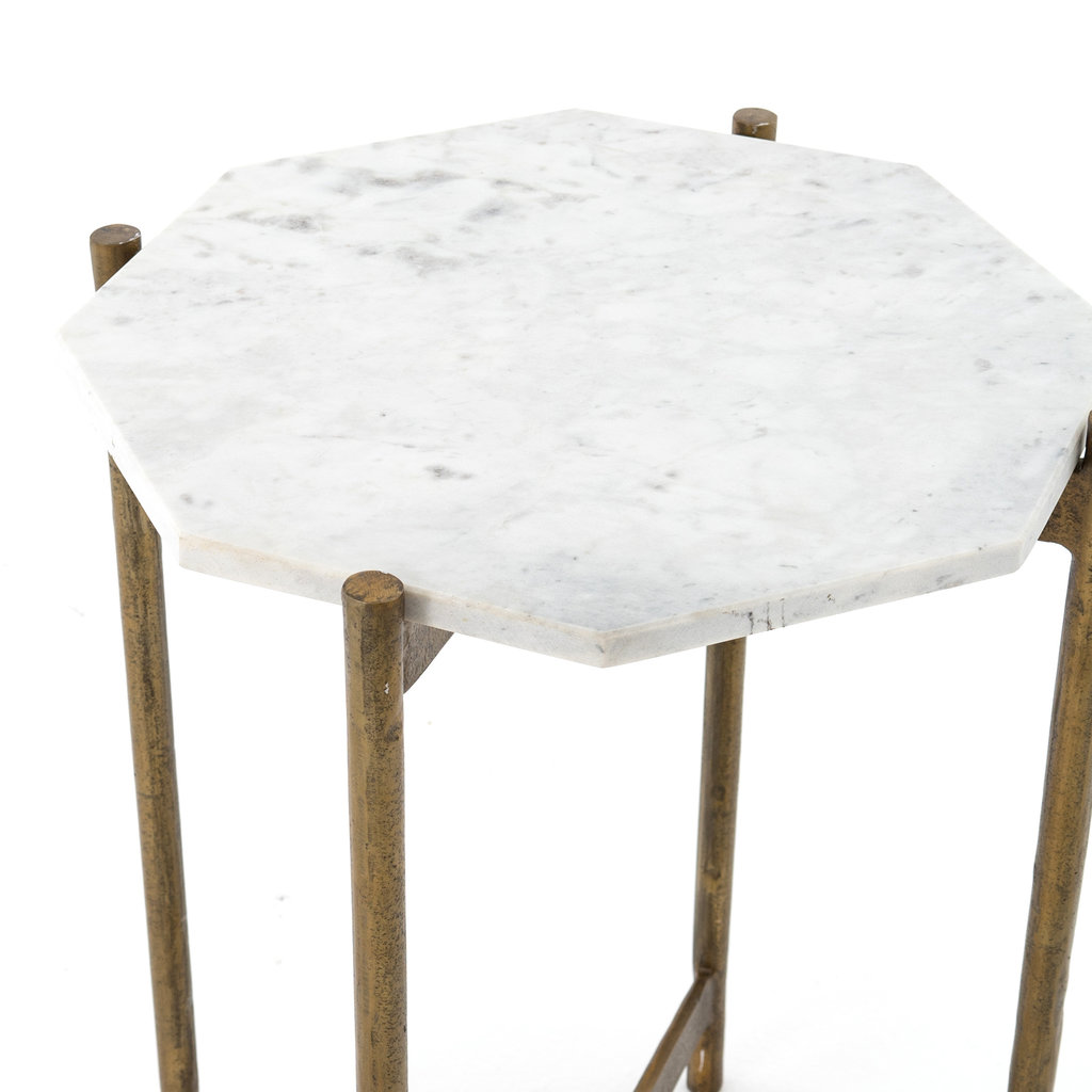 Octagon Marble-top End Table