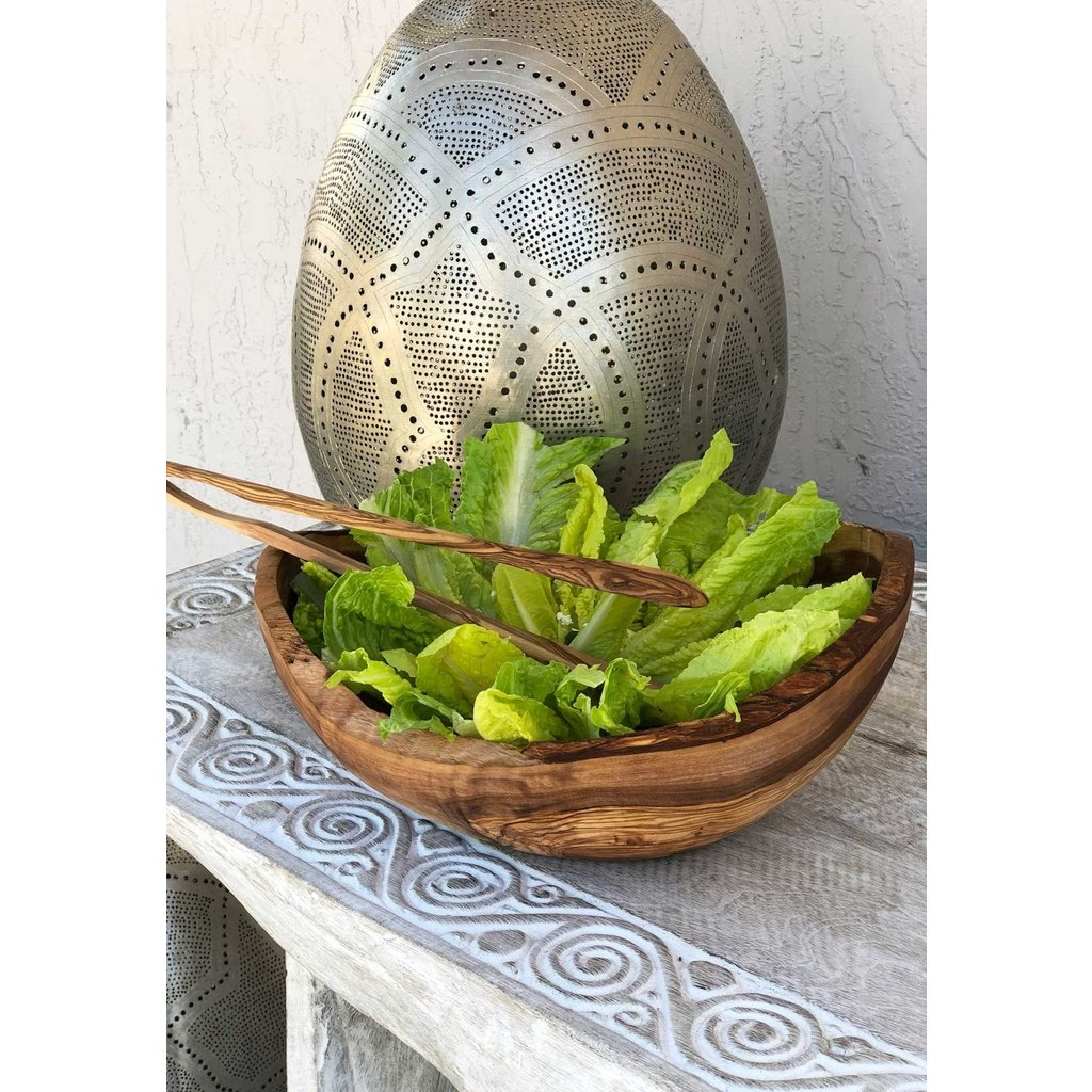 "Slate Olive Wood Rustic Bowl 16"""
