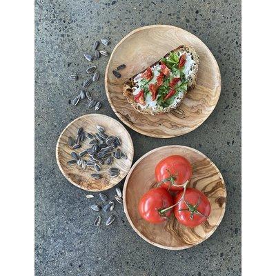 Slate Olive Wood Round Dishes (Set of 3)